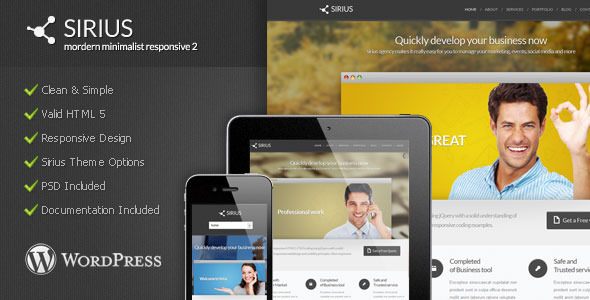 Sirius - Modern Minimalist Wordpress Theme - Corporate WordPress