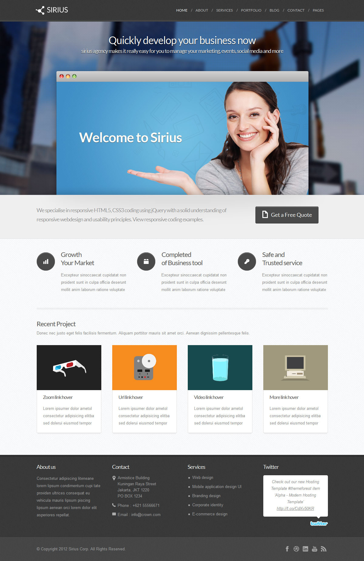 Sirius - Modern Minimalist Wordpress Theme
