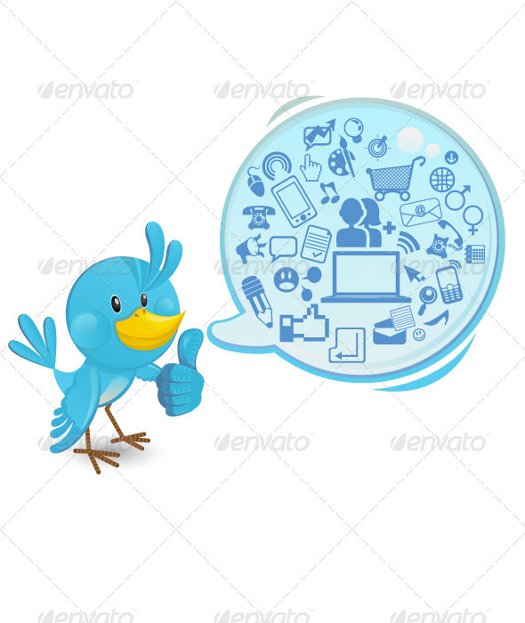 GraphicRiver Social networking bluebird thumbs up 410576
