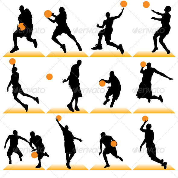 GraphicRiver Basketball Players Silhouettes Set 410607