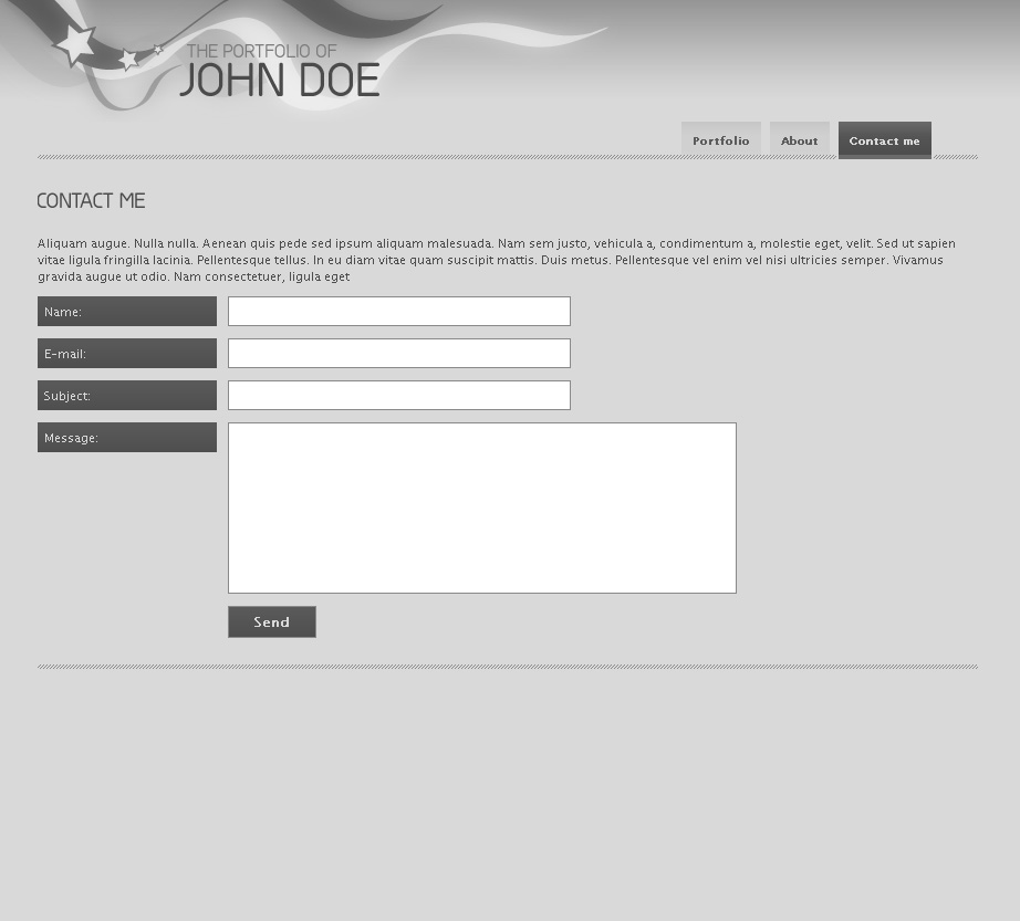 "Clean jQuery Portfolio Template - 3_Contact - A pretty basic ""contact me"" page with styles form-elements."
