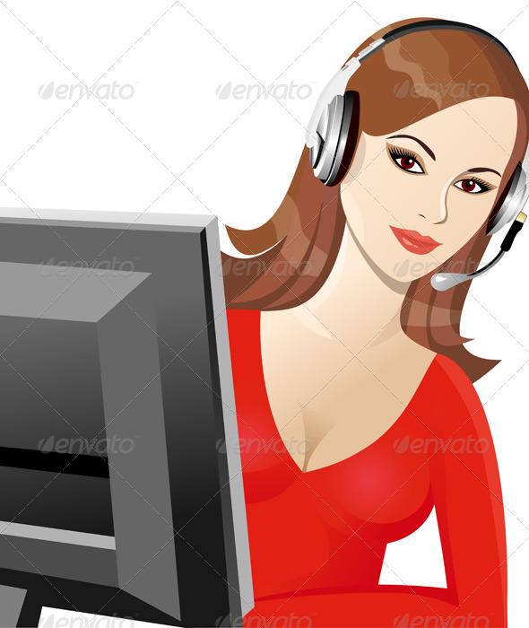 Vector brunette girl telephone ope