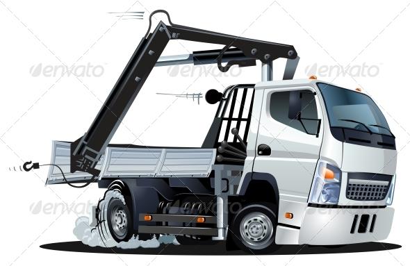 GraphicRiver Vector Cartoon Lkw Truck with Crane 3814438