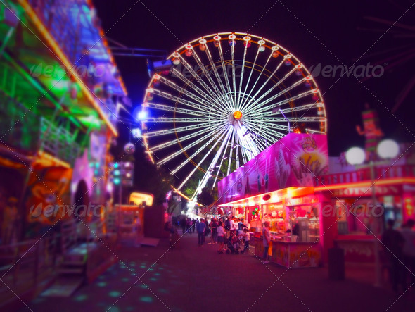 PhotoDune Amusement park at night 3814605