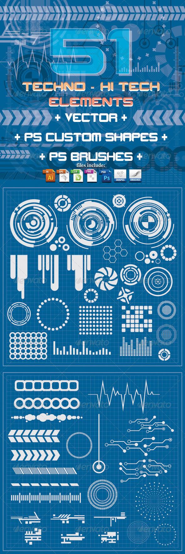 GraphicRiver 51 Techno & Hi Tech Elements 3814744