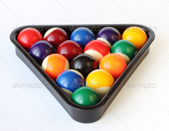 PhotoDune Brightly colored pool or billiard balls on white 3814767