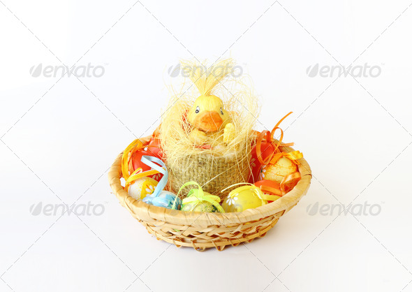 PhotoDune easter decoration with small duck and eggs 3814780