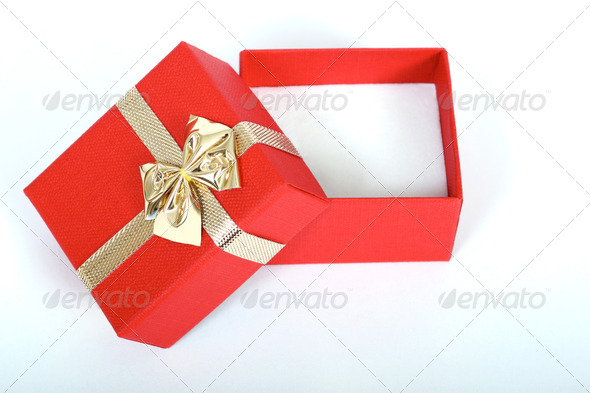PhotoDune red present box with gold ribbon isolated on white 3814782