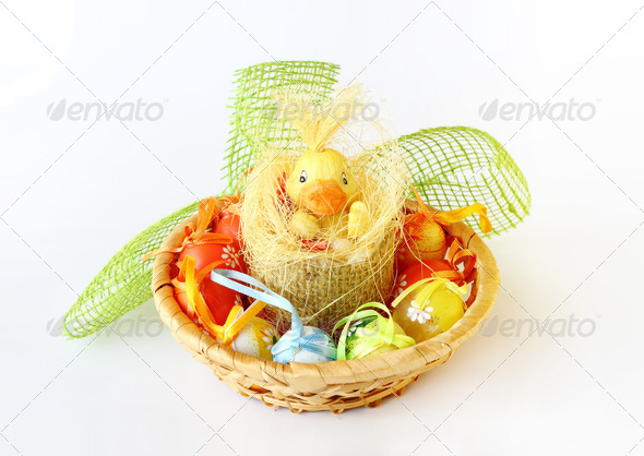 PhotoDune easter decoration with small duck and eggs 3814792
