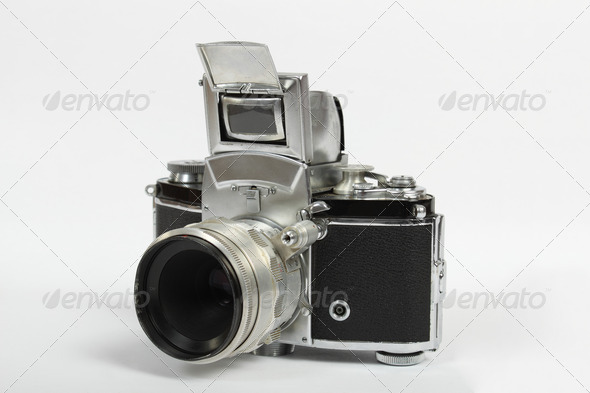 PhotoDune retro old vintage analog photo camera on white 3814798
