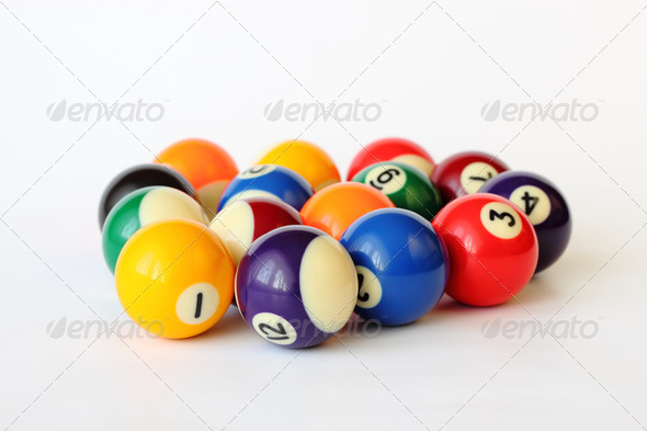 PhotoDune Brightly colored pool or billiard balls on white 3814799