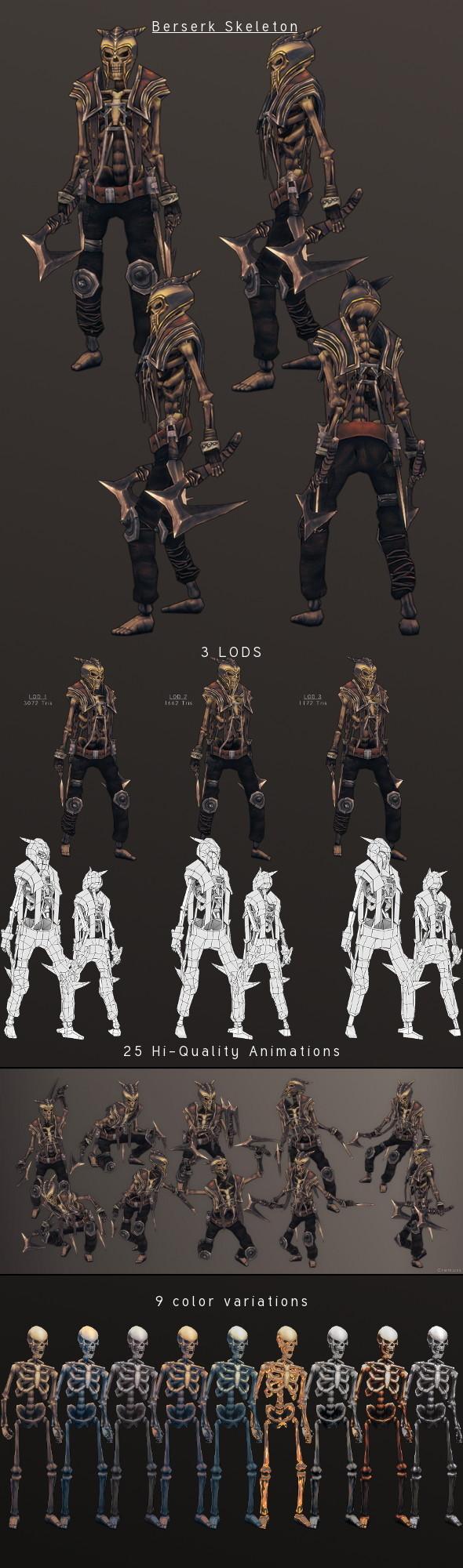 3DOcean LowPoly HandPainted Berserk Skeleton 3814820
