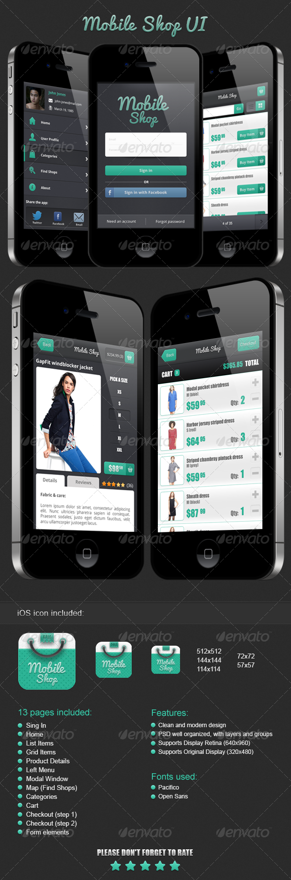 GraphicRiver Mobile Shop UI 3814974