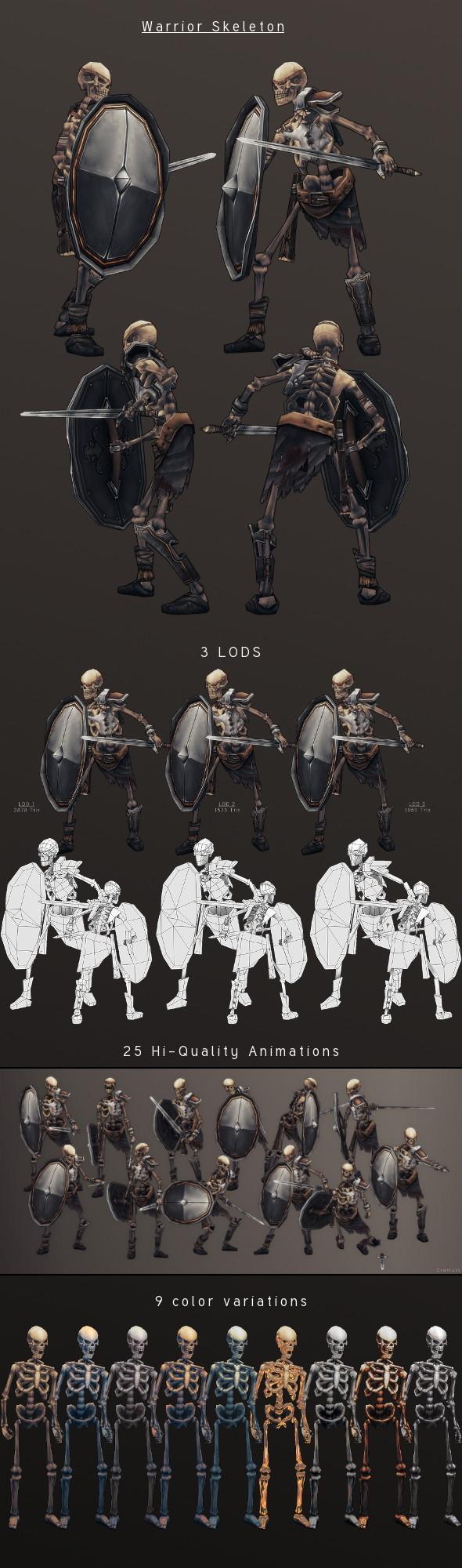 3DOcean LowPoly HandPainted Warrior Skeleton 3815248