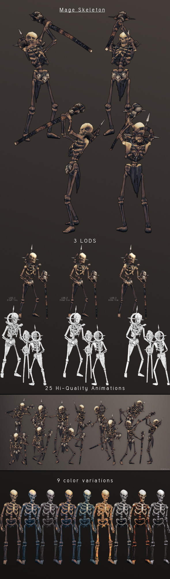 3DOcean LowPoly HandPainted Mage Skeleton 3815305