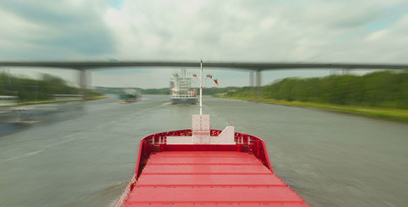 Ship Passing in Kiel Canal Time Lapse