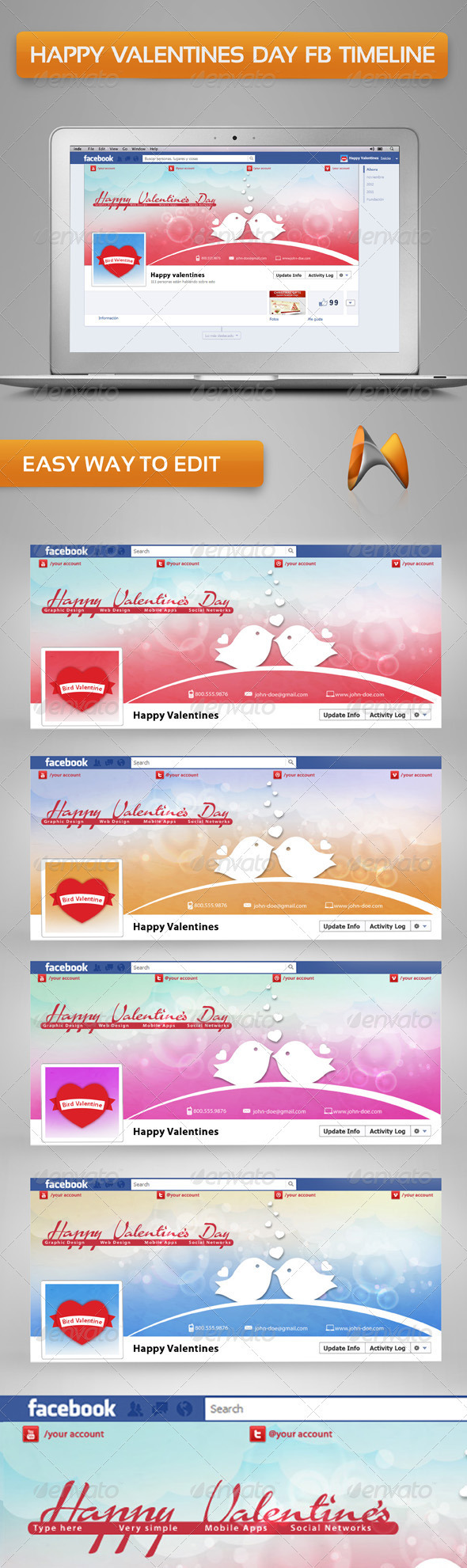 GraphicRiver Happy Valentine s Day Timeline Cover 3740358