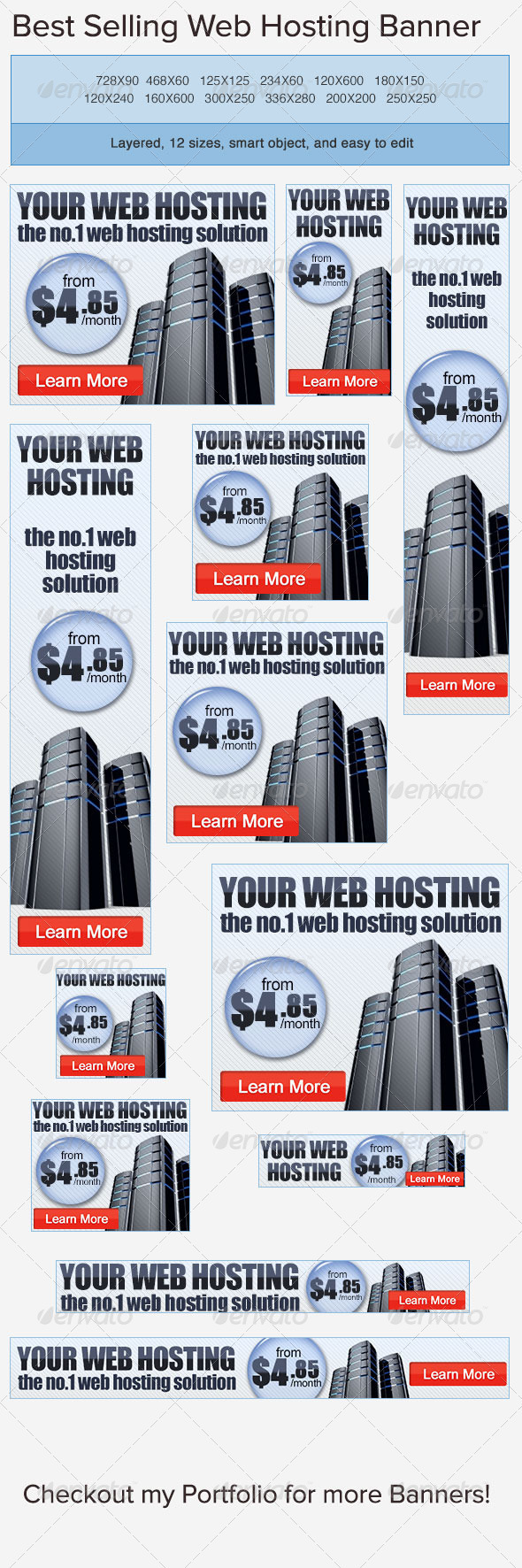 GraphicRiver Web Hosting PSD Banner Ad Template 3816490