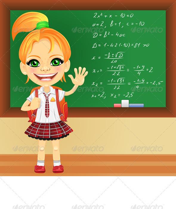 GraphicRiver Vector smiling schoolgirl near blackboard 3816883