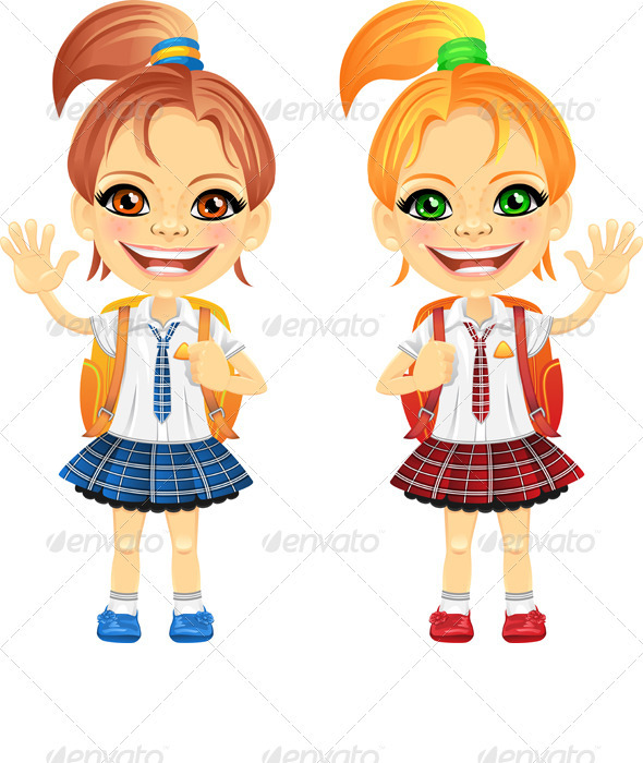 Vector chestnut and redhead cute schoolgirs - People Characters