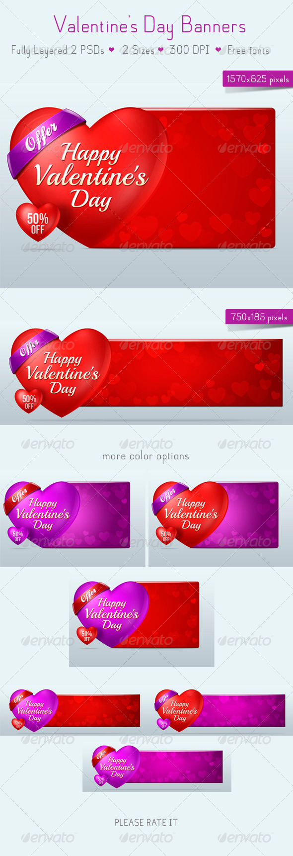 Valentine's Day Banners - Banners & Ads Web Elements