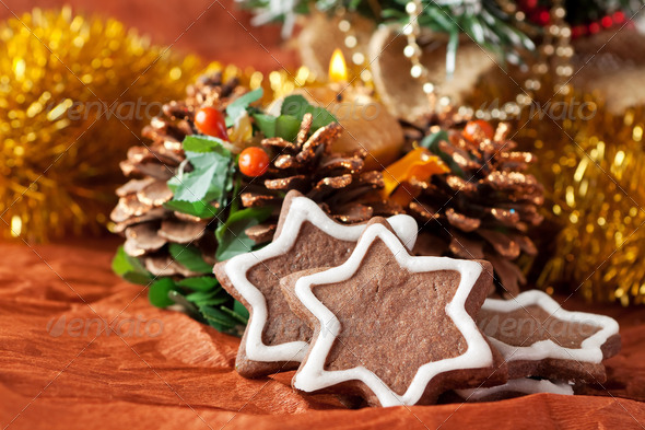 Christmas cookies with chocolate icing - Stock Photo - Images