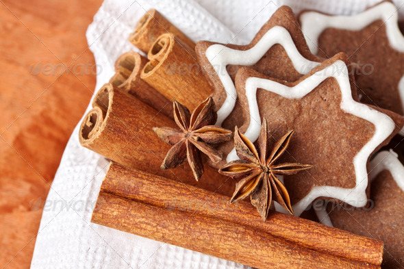 chocolate Christmas cookies in the shape of stars - Stock Photo - Images