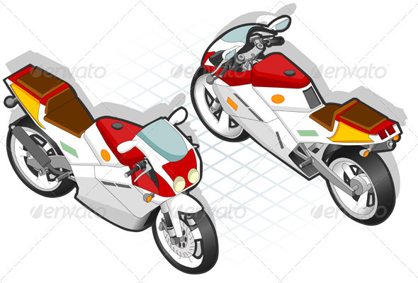 GraphicRiver Isometric Mororcycle in Two Positions 3817629
