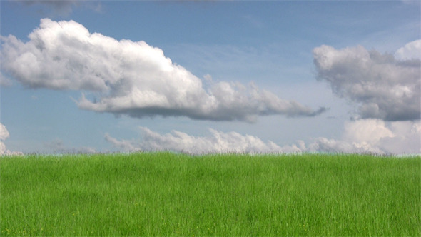 Blue Sky With White Clouds Over Green Grass