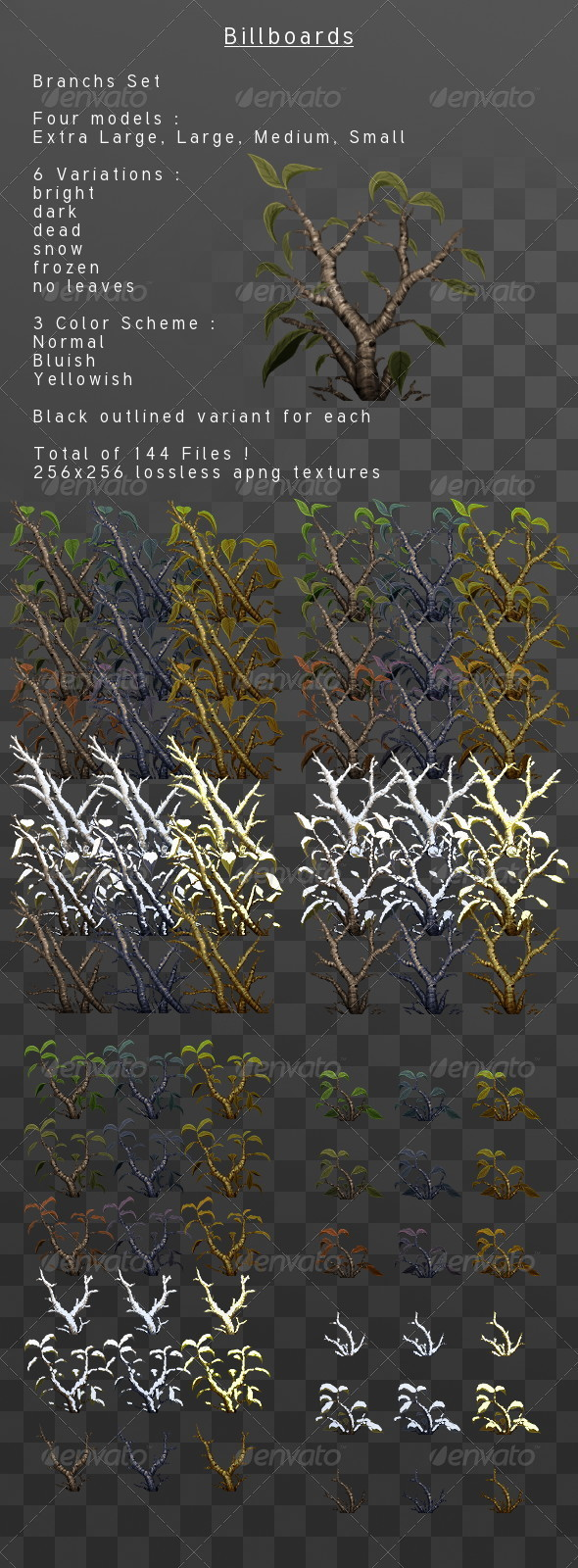 Branches & Leaves Billboard pack - 3DOcean Item for Sale