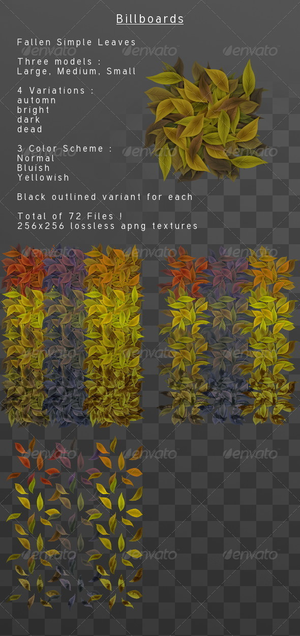 3DOcean Fallen simple leaves Billboard pack 3818642