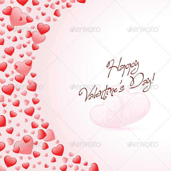 GraphicRiver Happy Valentines Day Card with Hearts 3818795