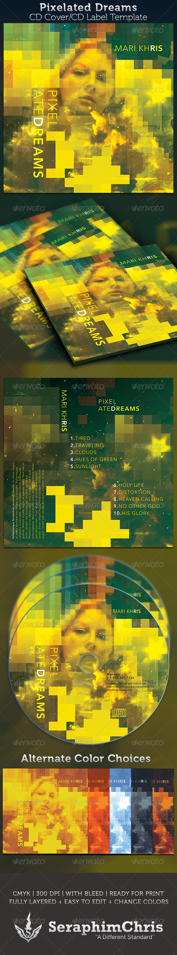 Pixelated Dreams CD Cover Artwork Template - CD & DVD Artwork Print Templates