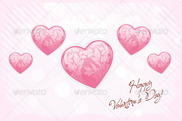 Happy Valentines Day Card with Hearts - Valentines Seasons/Holidays