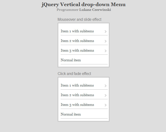 jQuery Vertical Drop-Down Menu by Lukasz_Czerwinski ...