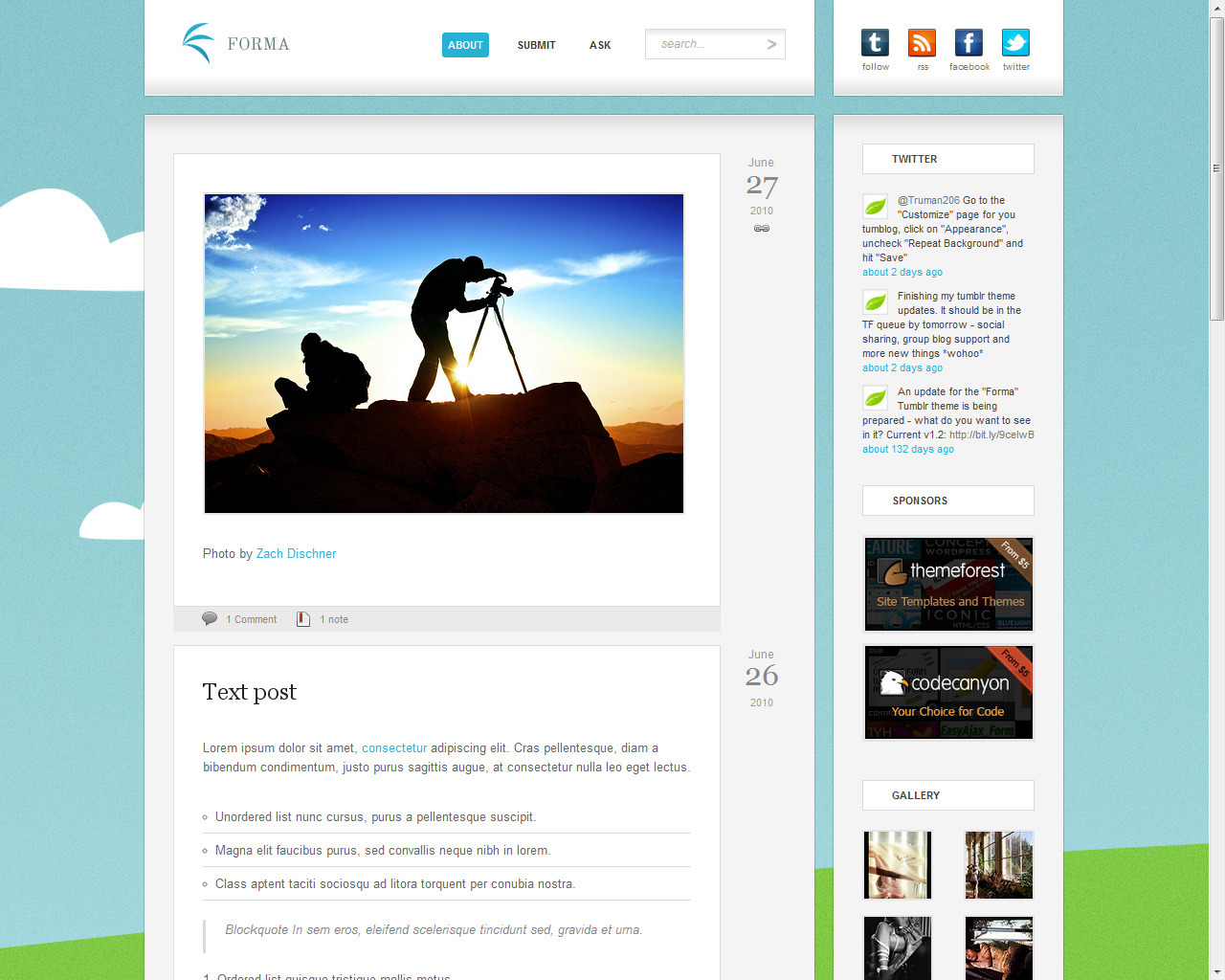 "Forma - Premium Tumblr Theme - Index page with the ""crayons"" hi-res background."
