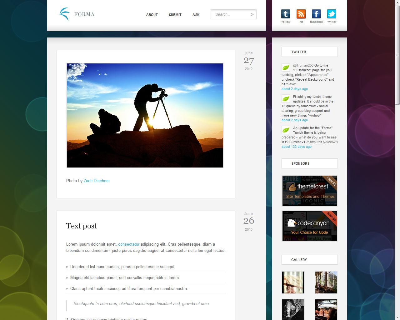 Forma - Premium Tumblr Theme -