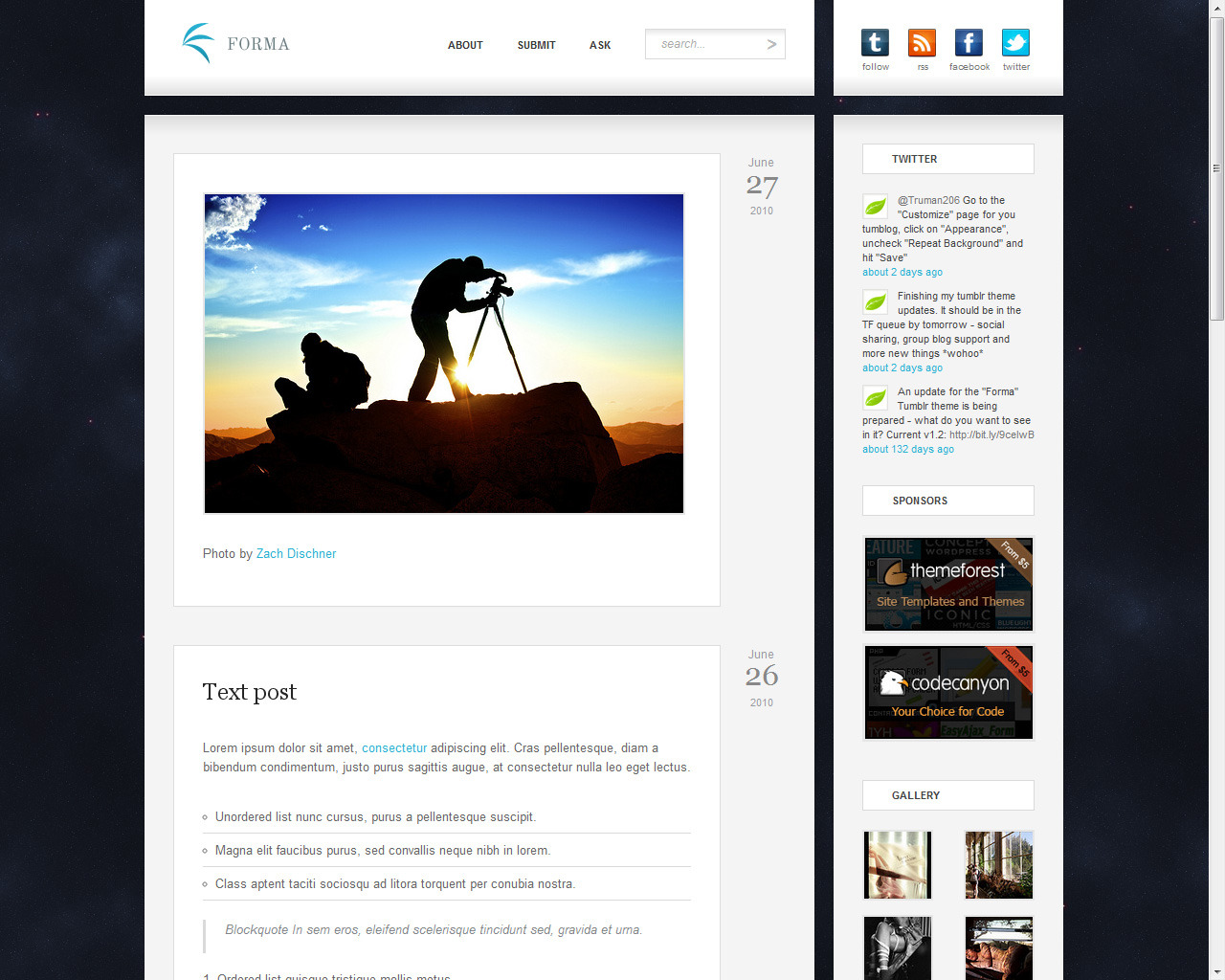 "Forma - Premium Tumblr Theme - Index page with the ""space"" hi-res background."