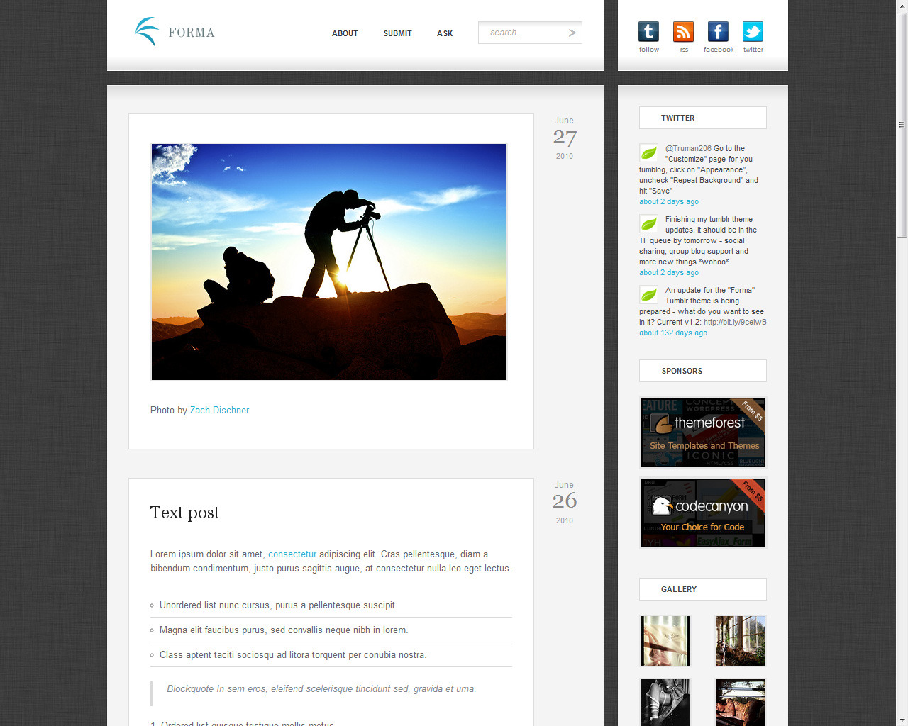 "Forma - Premium Tumblr Theme - Index page with the ""linen"" texture pattern."