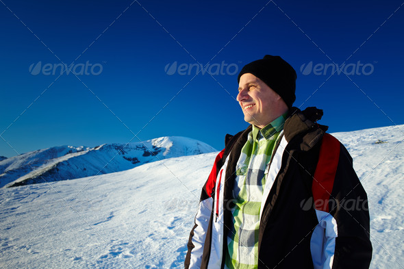 Man on the mountain - Stock Photo - Images