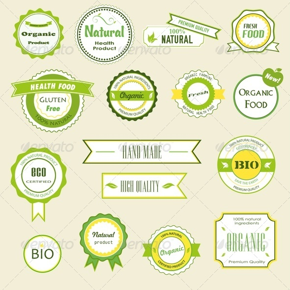 GraphicRiver Organic Labels Logos and Stickers 3820228