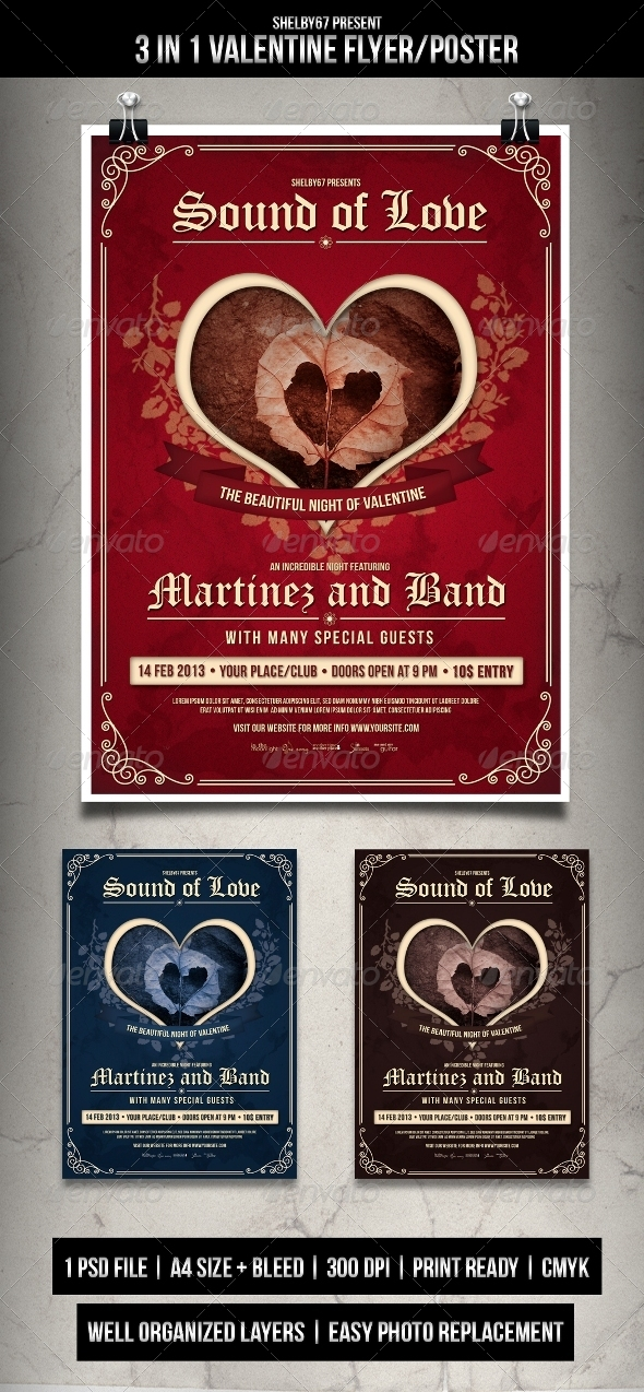 GraphicRiver Valentine Flyer Poster 3 in 1 Style 3821151