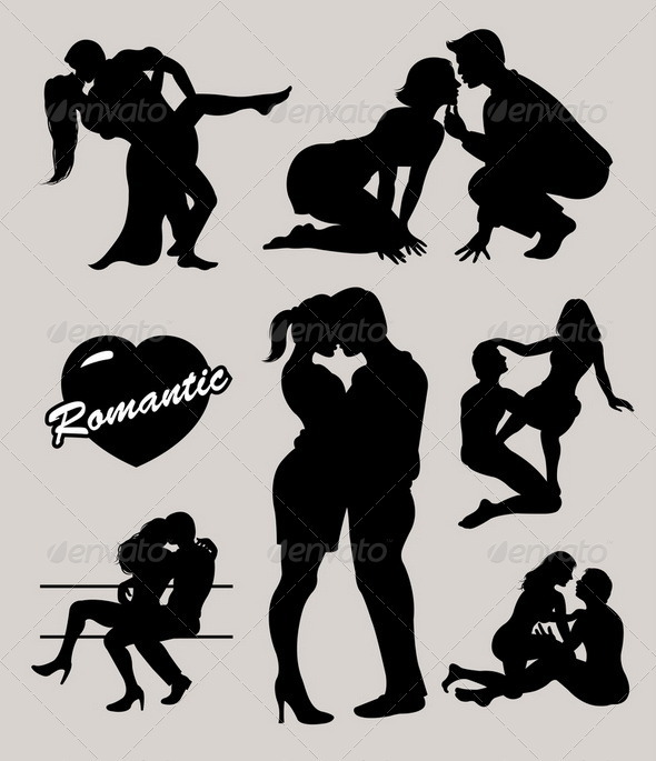 GraphicRiver Romantic love couple silhouettes 2 3821333