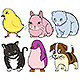 Six Cartoon Animals With Text Balloons - GraphicRiver Item for Sale