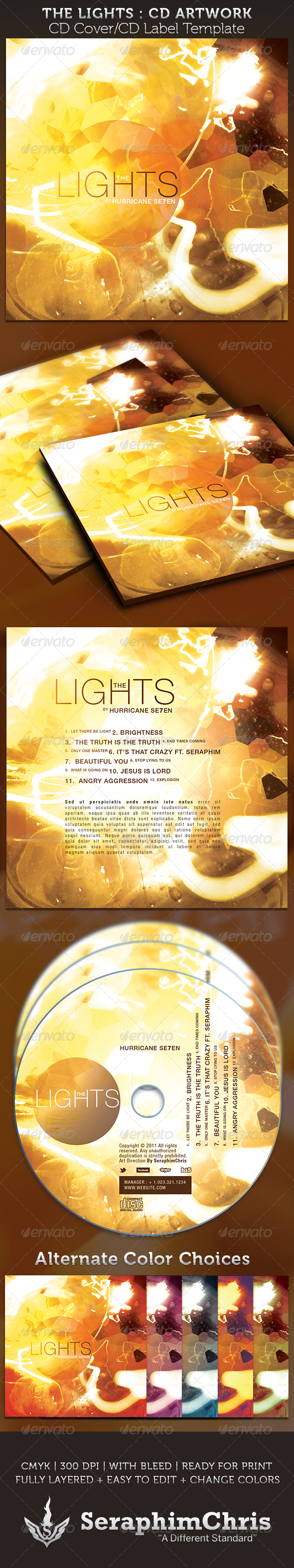 GraphicRiver The Lights CD Cover Artwork Template 3821570