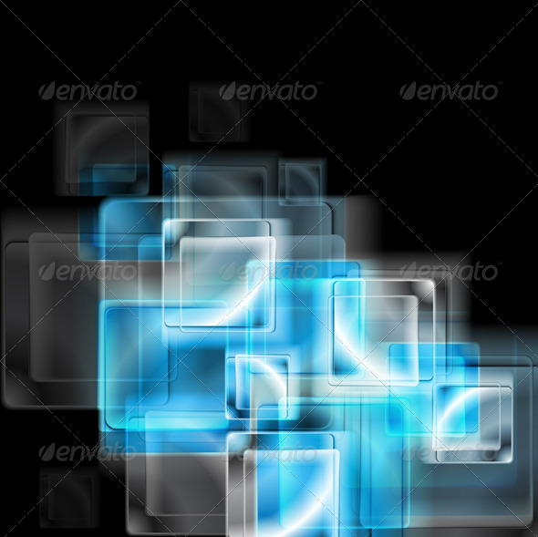 GraphicRiver Abstract blue glass squares Vector 3821688