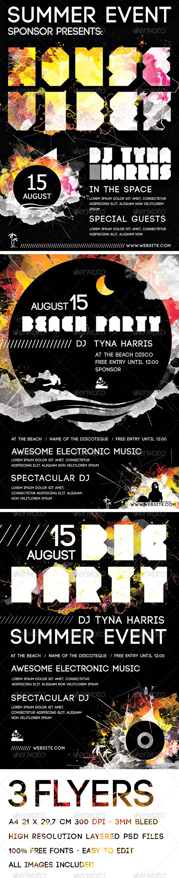 A4 Electronic Music and Beach Party Flyers Pack - Clubs & Parties Events