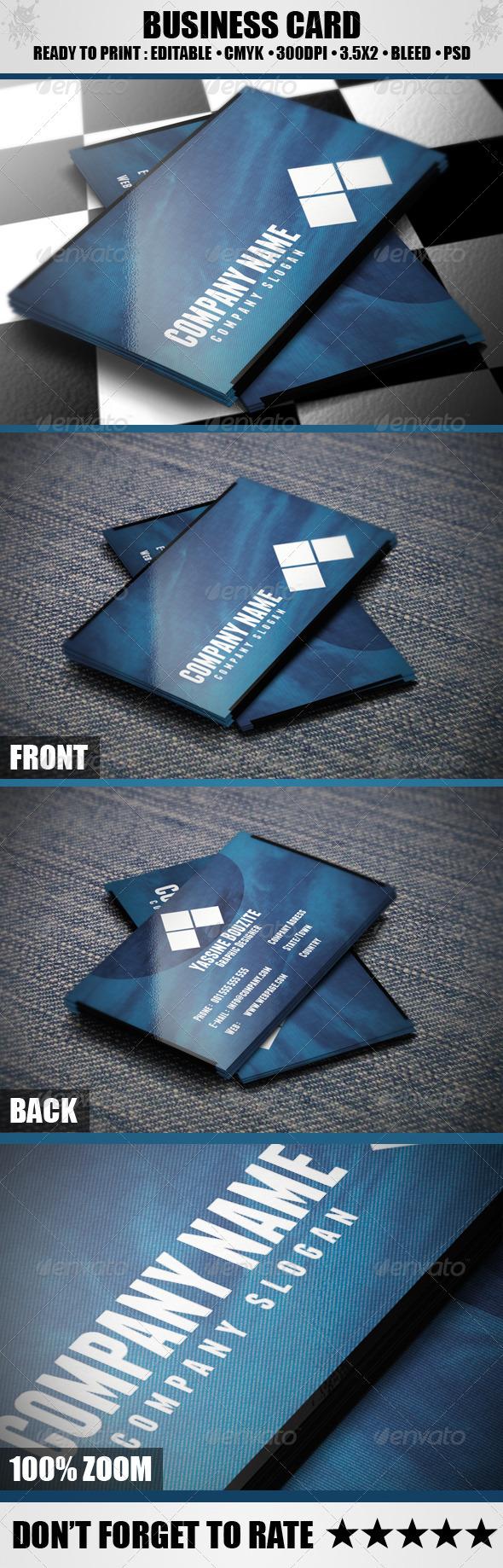 GraphicRiver Elegant Blue Business Card 3714997