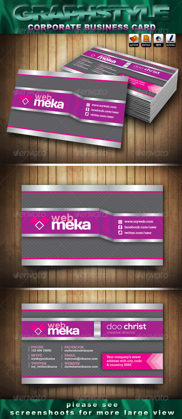 GraphicRiver Webmeka Corporate Business Card 3821791