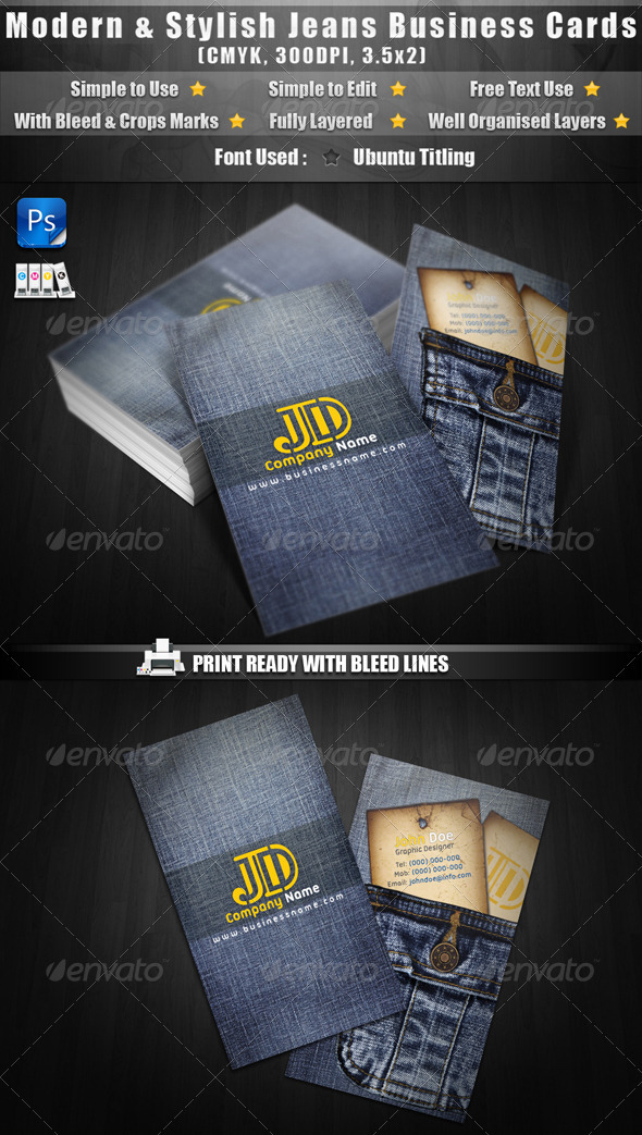 Modern & Stylish Jeans Business Cards - Real Objects Business Cards